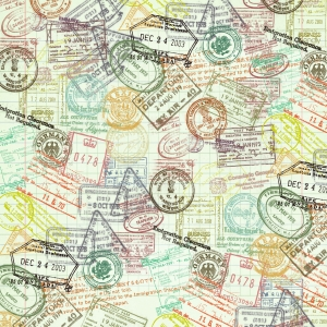 Passport Stamp Paper - a digital scrapbooking paper by Marisa Lerin