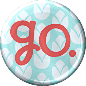 Metal Go Button - a digital scrapbooking brad embellishment by Marisa Lerin