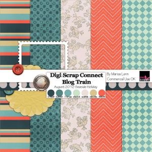 DSC August Blog Train - a digital scrapbooking paper by Marisa Lerin