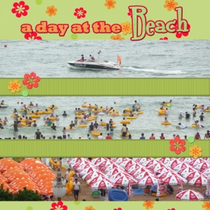 Busan Beach 3 - a digital scrapbook page by Marisa Lerin
