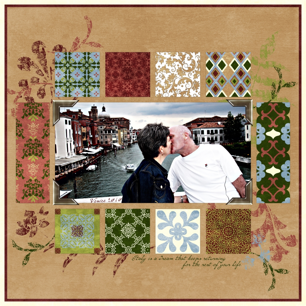 Venice Free Download - Digital Scrapbook Page blue green ...