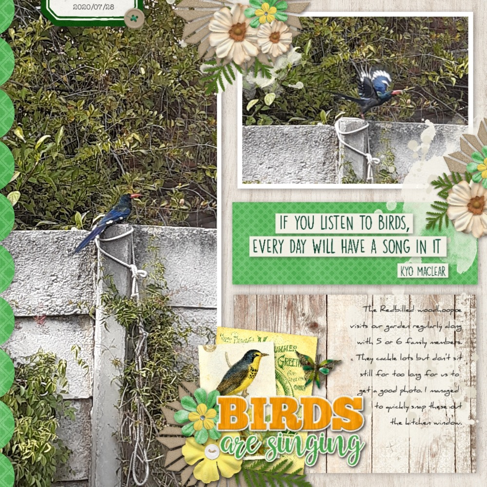 digital scrapbooking layout with a large photo