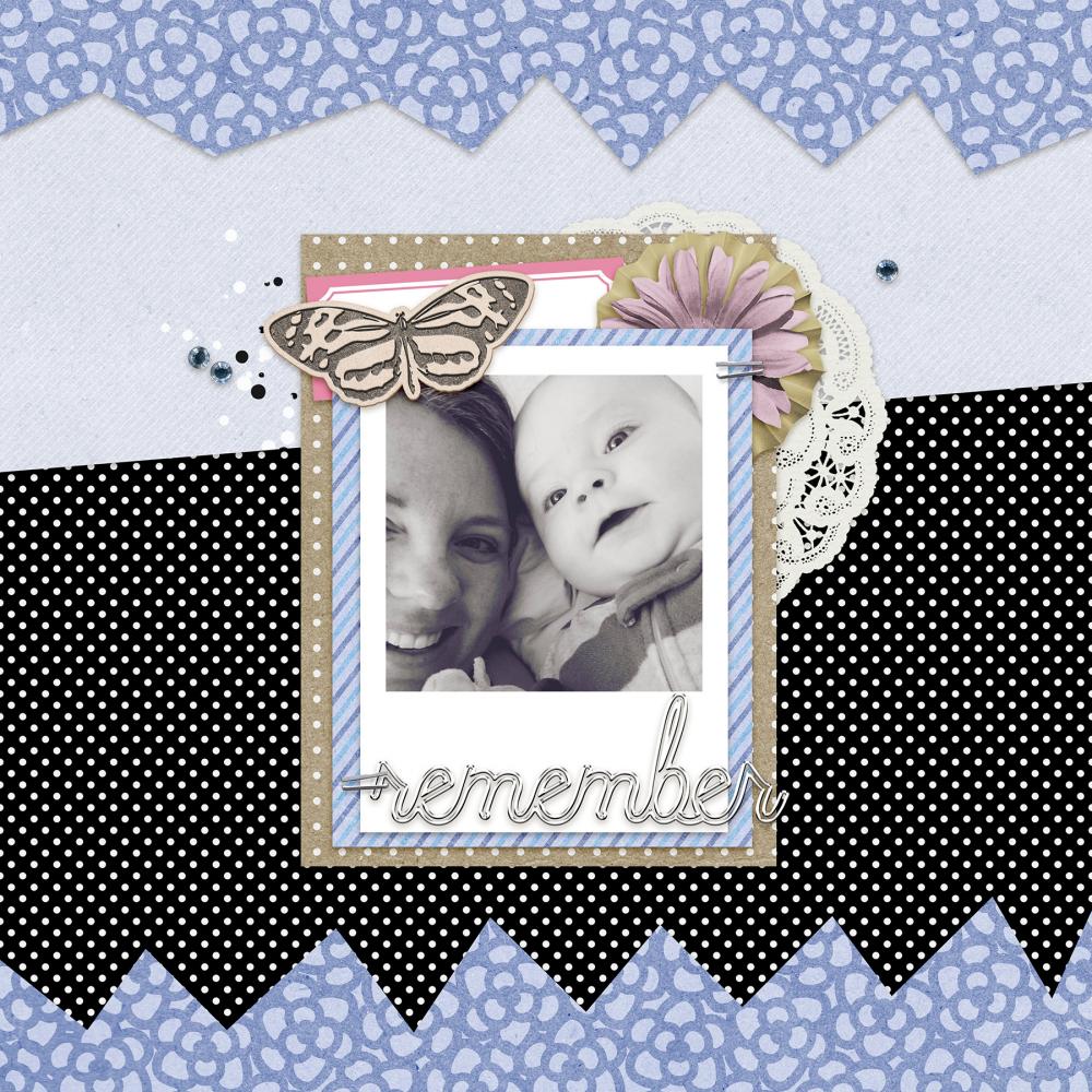 black and white photo digital scrapbooking layout