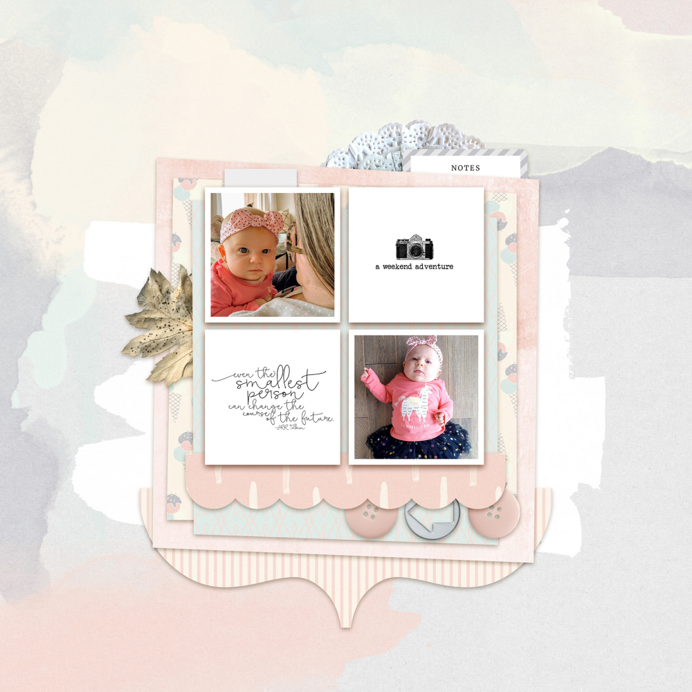 small photos on digital scrapbooking layout