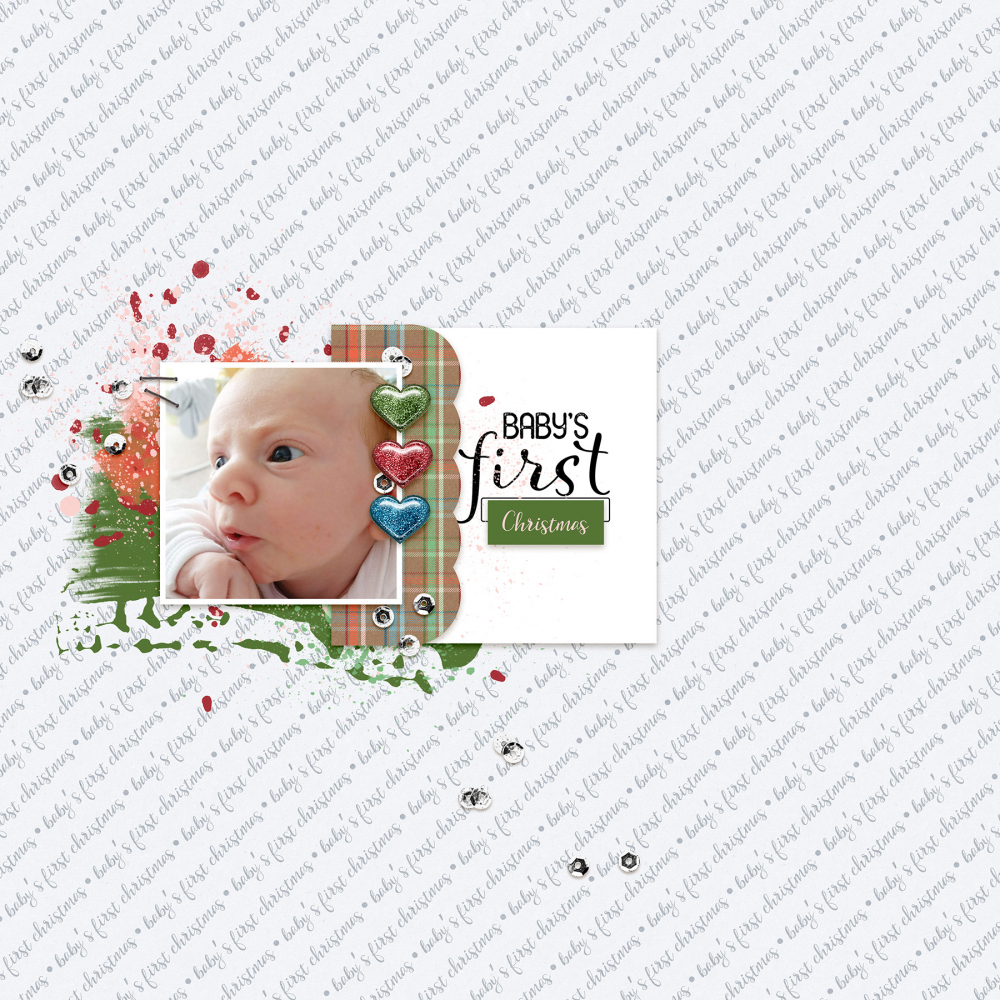 baby's first christmas digital scrapbook layout