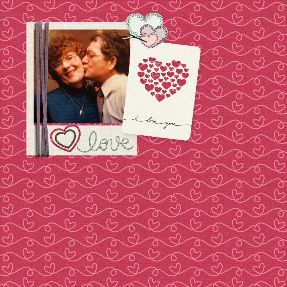 valentine digital scrapbook layout