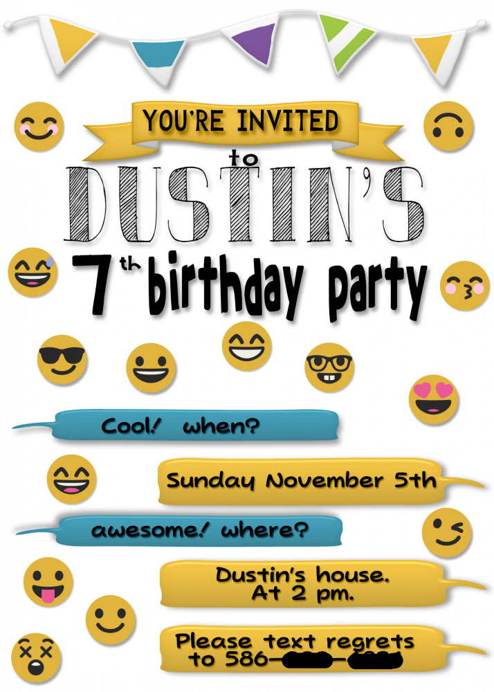 graphic about Emoji Invitations Printable referred to as Dustins Emoji Birthday Occasion Invite Printable by means of Melissa