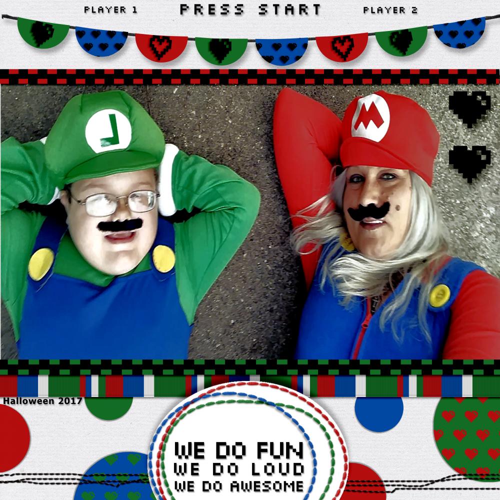 video game valentine digital scrapbook page