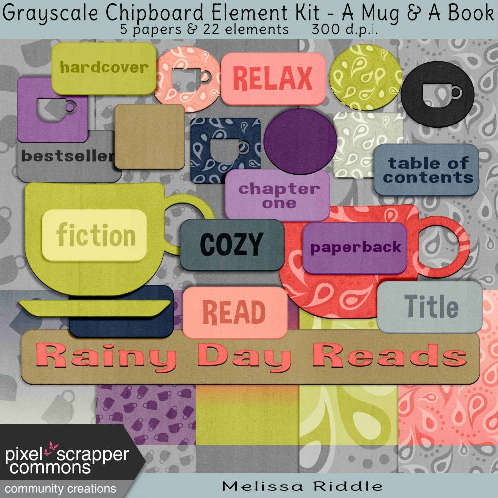 Grayscale Chipboard Element Kit - A Mug & A Book by Melissa Riddle ...