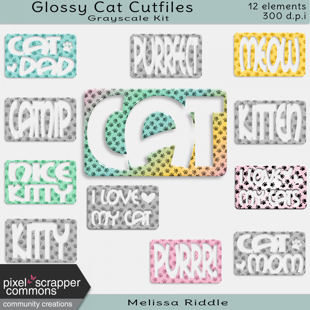 Grayscale Glossy Cat Cut Files by Melissa Riddle graphics kit ...