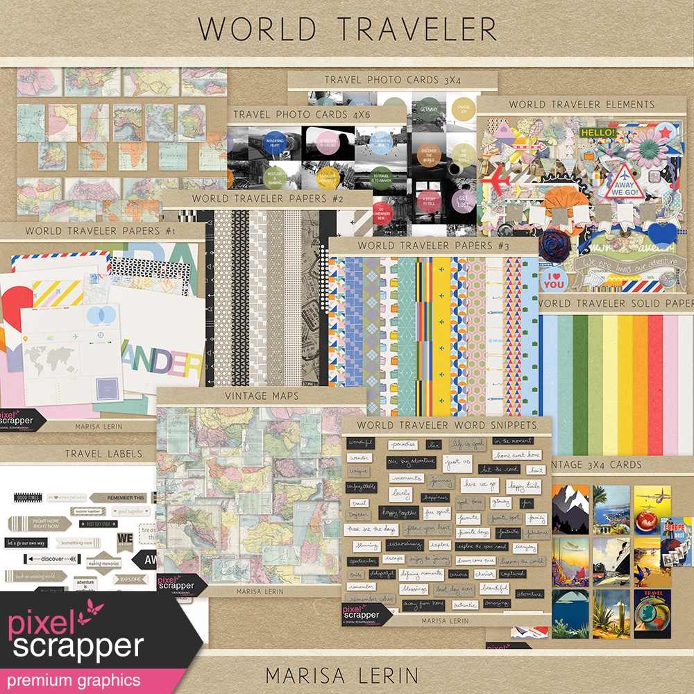 world traveler digital scrapbooking kits