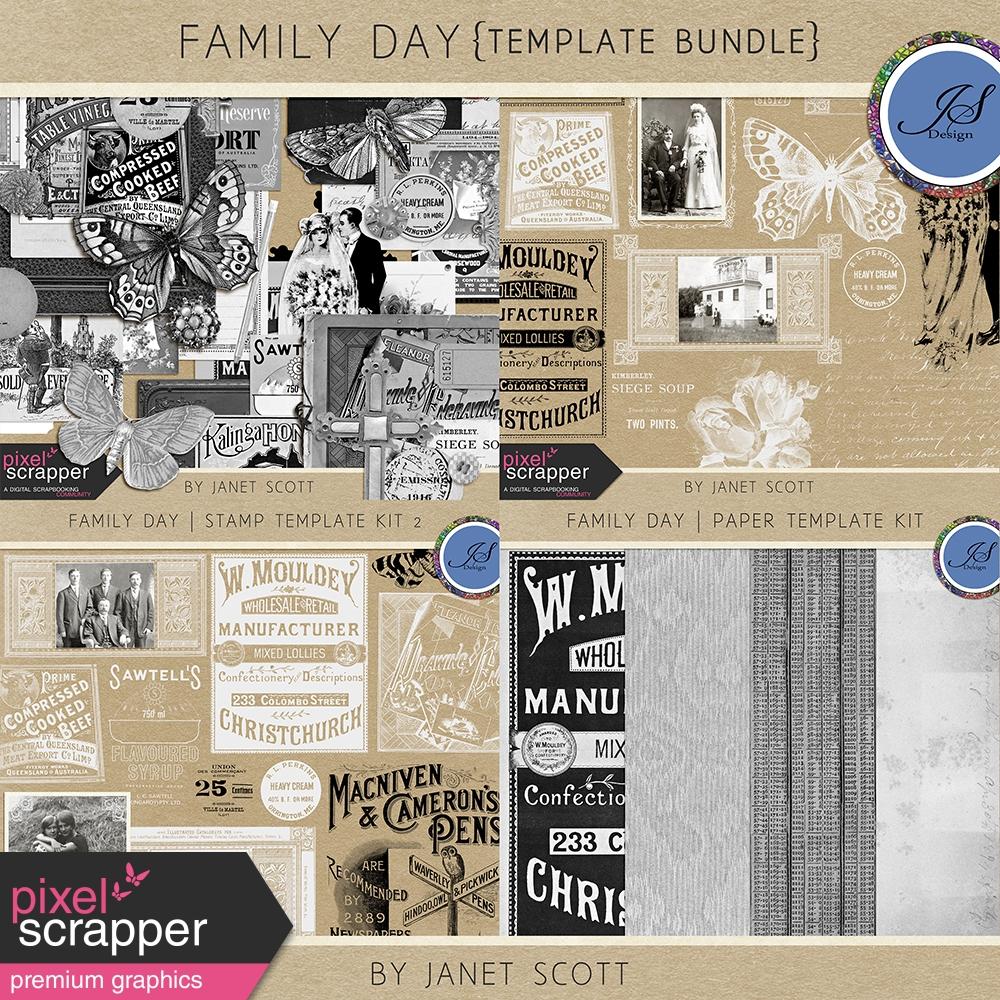Family Day Template Bundle By Janet Scott Pixel Scrapper Digital