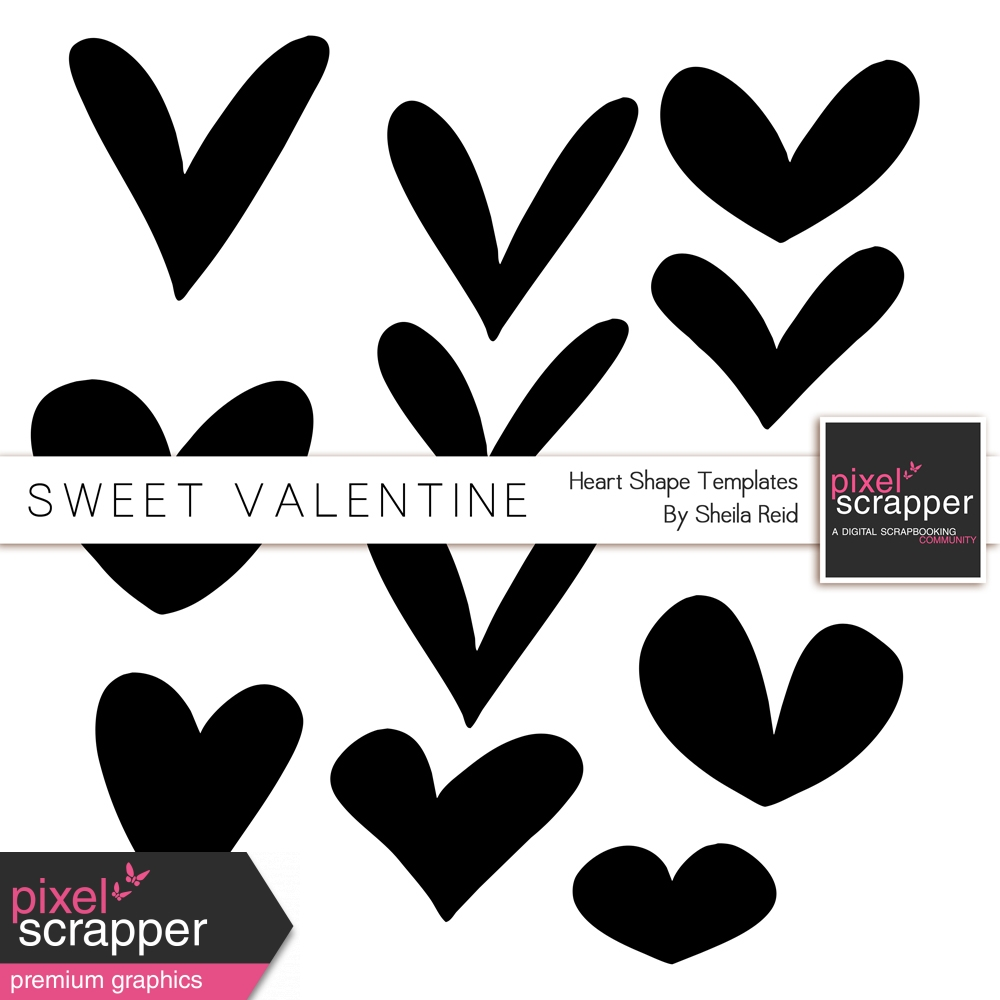 Sweet Valentine Heart Shapes Templates Kit By Sheila Reid Graphics