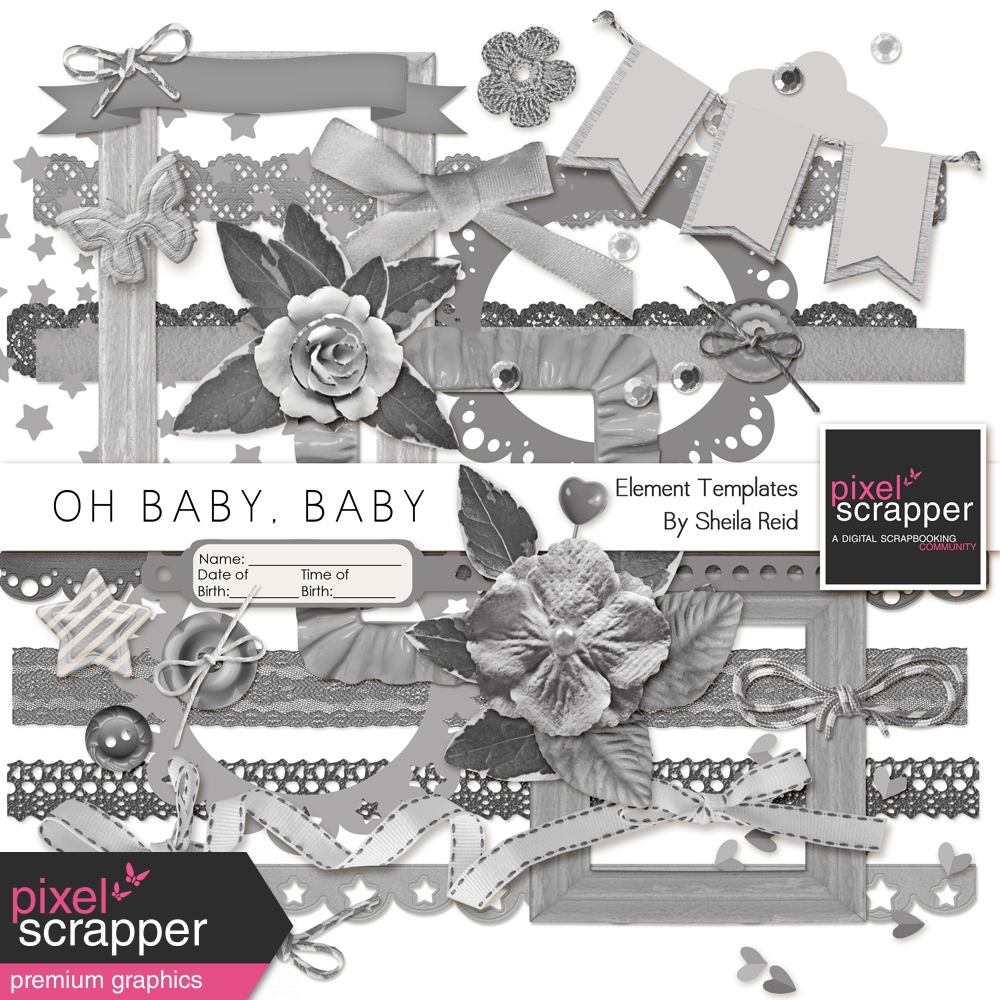 Oh Baby, Baby Element Templates Kit by Sheila Reid graphics kit ...