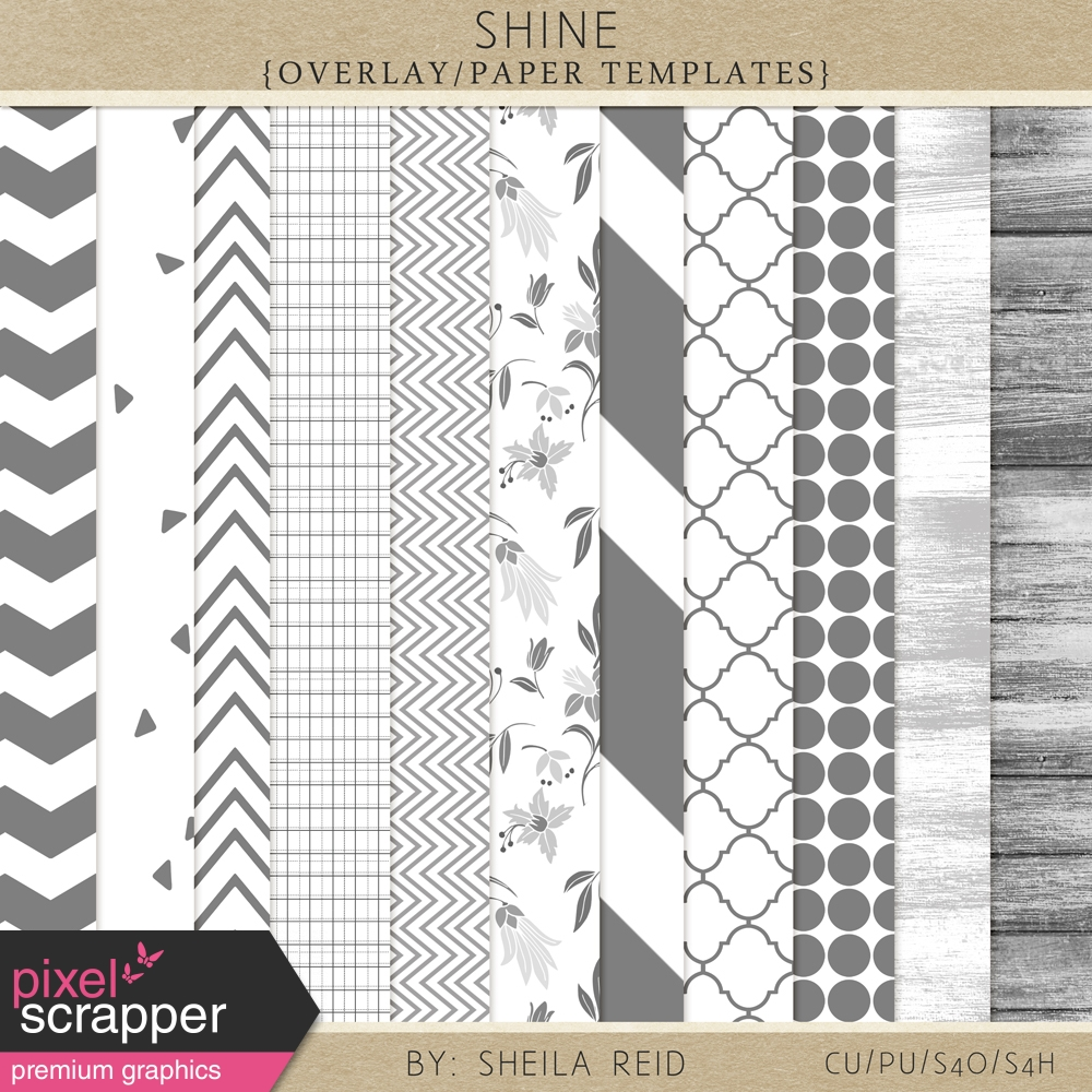 shine overlay paper templates kit by sheila reid graphics kit