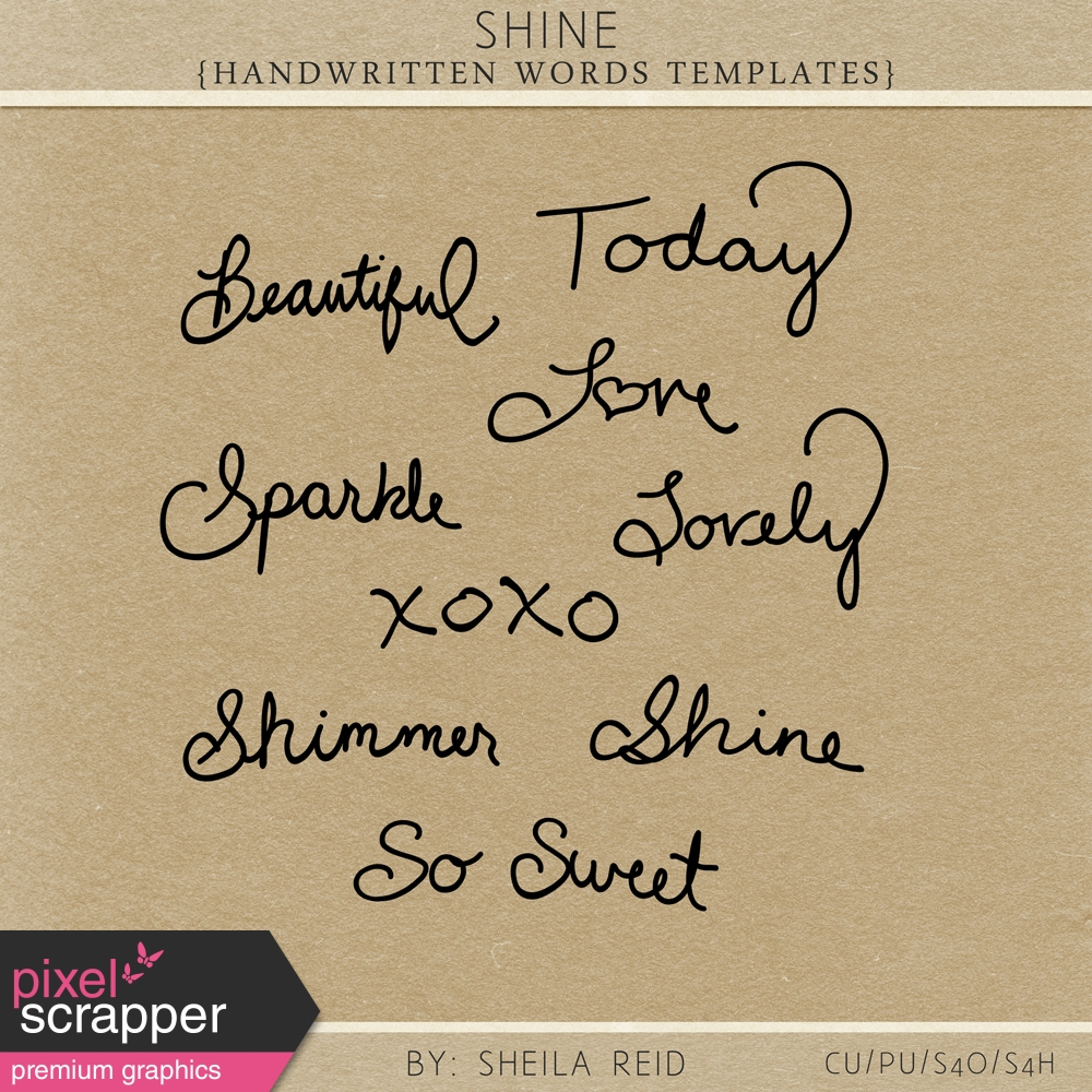 shine handwritten words templates kit by sheila reid graphics kit