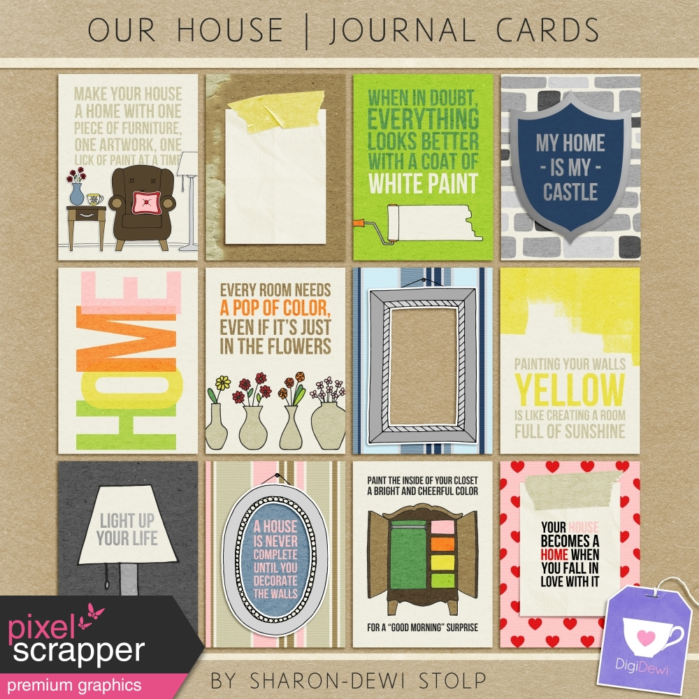 Our House Journal Cards By Sharon Dewi Stolp Graphics Kit