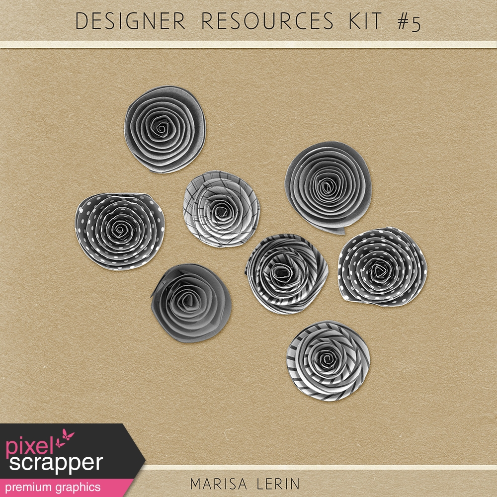 Resource Kit 5 Rolled Paper Flowers By Marisa Lerin Graphics Kit