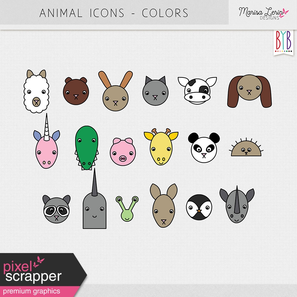 animals color illustrations kit by marisa lerin graphics kit