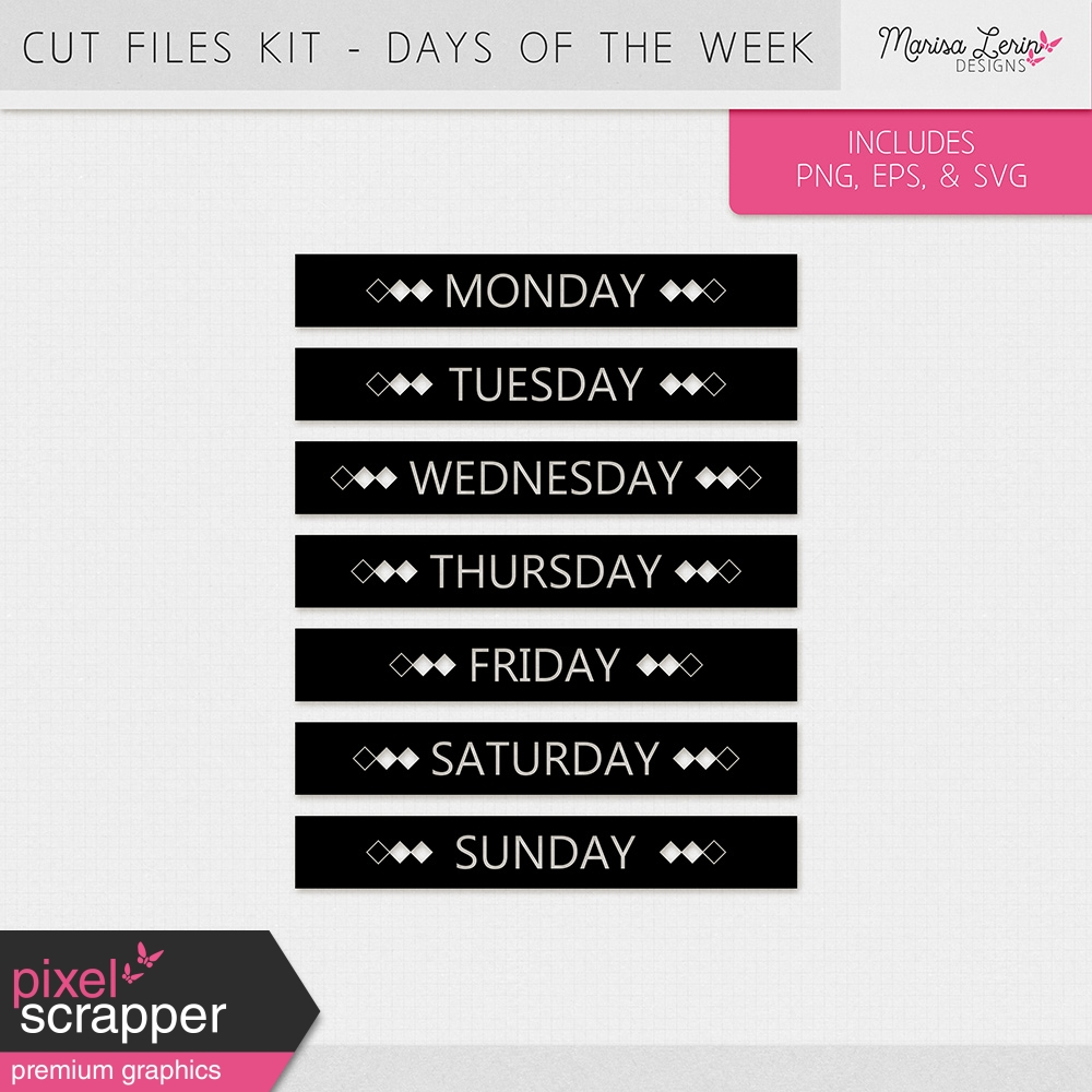Days Of The Week Stamps Kit 2 By Marisa Lerin Graphics Kit