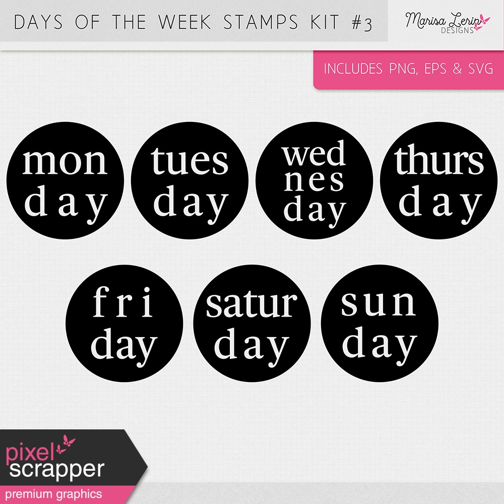 Days Of The Week Stamps Kit 3 By Marisa Lerin Graphics Kit