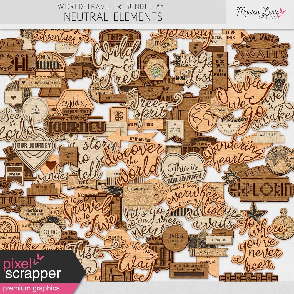 neutral travel digital elements for digital scrapbooking