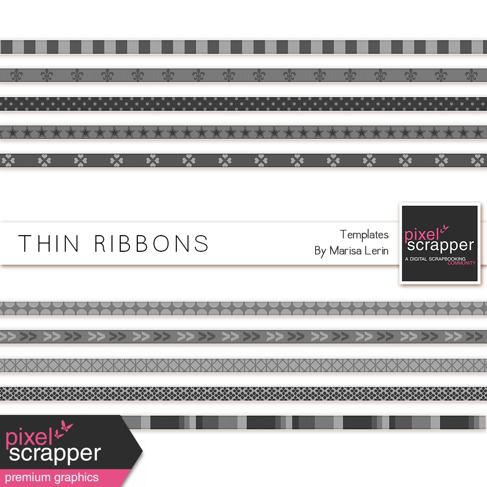 Thin Ribbon Templates by Marisa Lerin graphics kit   Pixel Scrapper