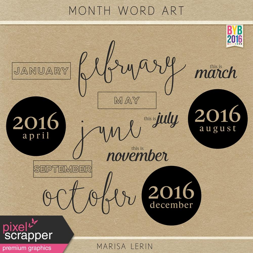 Calendar Word Art : Build your basics month word art by marisa lerin graphics