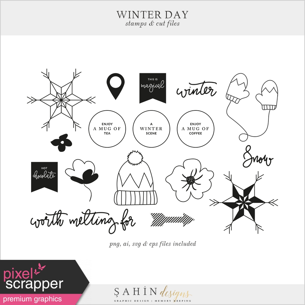 Winter Day Stamps Cut Files By Elif Sahin Graphics Kit Pixel Scrapper Digital Scrapbooking