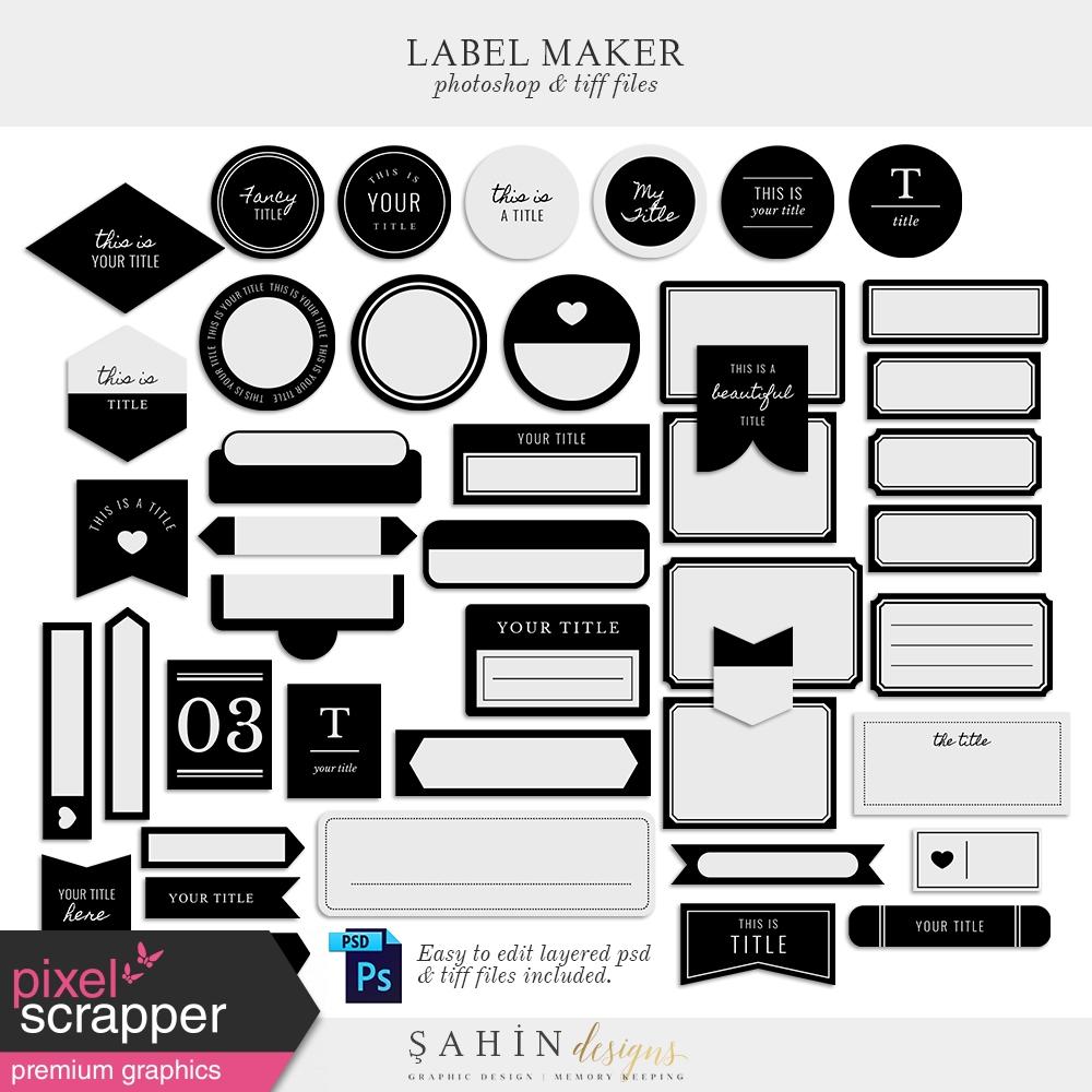 Label Maker by Elif Şahin graphics kit | Pixel Scrapper Digital ...