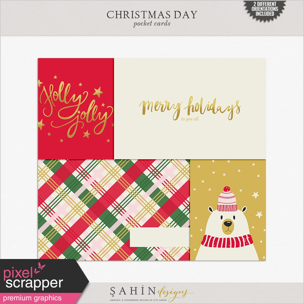 Christmas Day Cards by Elif Şahin graphics kit | Pixel Scrapper ...