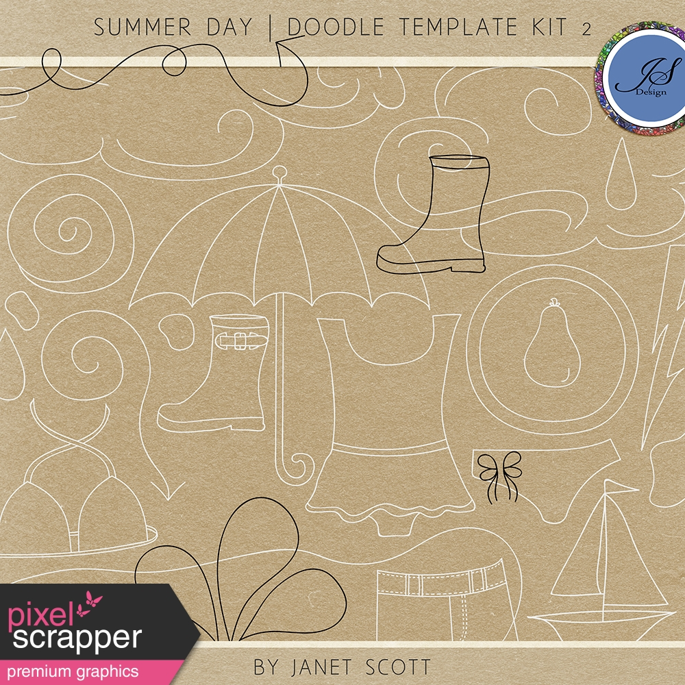 Summer Day - Doodle Template Kit 2 by Janet Scott graphics kit ...