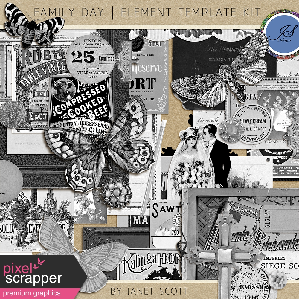 Family Day Element Template Kit By Janet Scott Graphics Kit
