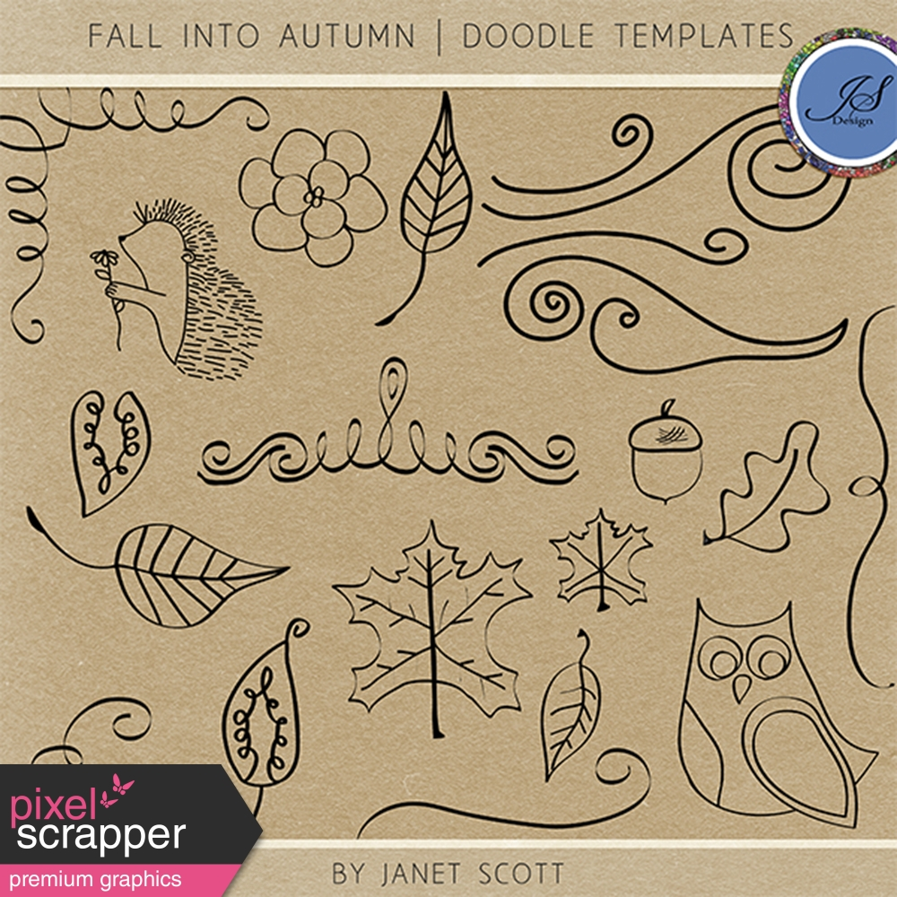 Fall Into Autumn - Doodle Template Kit by Janet Scott graphics kit ...