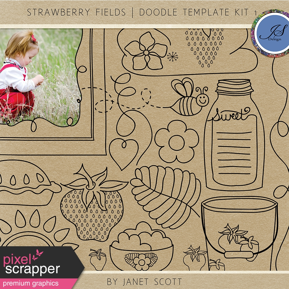 Strawberry Fields - Doodle Template Kit 1 by Janet Scott graphics ...