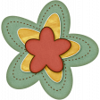 Sweet Valentine Elements  - Teal Yellow Red Flower