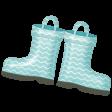 Rain, Rain - Blue Chevron Rainboots