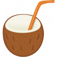 At The Beach - Coconut With Straw