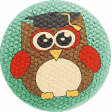 School Fun - Fabric Button - Owl 05