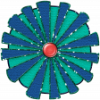 Challenged Paper Flower - Blue & Green