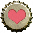 Bottle Cap - Pink Heart