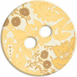 Cambodia Button -  Cream & Yellow & Brown Floral