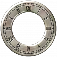 Clock - Silver With Roman Numerals