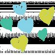 Garden Party Hearts - Blue & Green