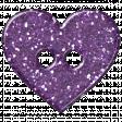 Purple Glitter Heart Plastic Button