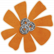 Brothers and Sisters - flower sticker orange
