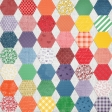 Quilted With Love - Modern Rainbow Hexagon Fabric Paper