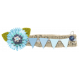 Navy and Aqua Blue Flower Music Cluster Border