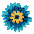 Aqua Navy Blue Flower 2