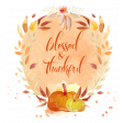 Autumn Watercolor Blessed & Thankful Word Art Wreath